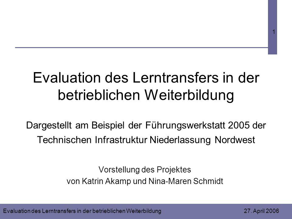 Evaluation des Lerntransfers in der betrieblichen Weiterbildung 27. April 2006 1 Evaluation des Lerntransfers in der betrieblichen Weiterbildung Darge