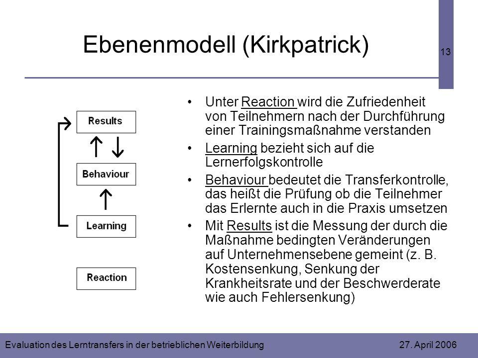 Evaluation des Lerntransfers in der betrieblichen Weiterbildung 27. April 2006 13 Ebenenmodell (Kirkpatrick) Unter Reaction wird die Zufriedenheit von