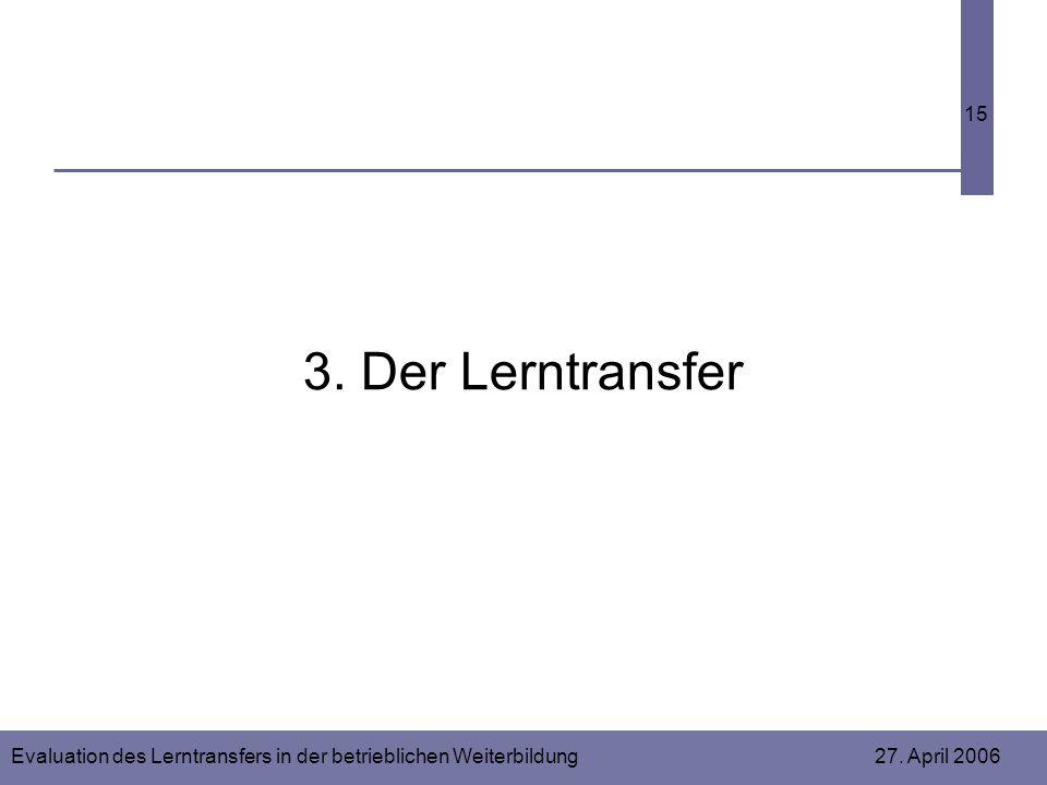 Evaluation des Lerntransfers in der betrieblichen Weiterbildung 27. April 2006 15 3. Der Lerntransfer