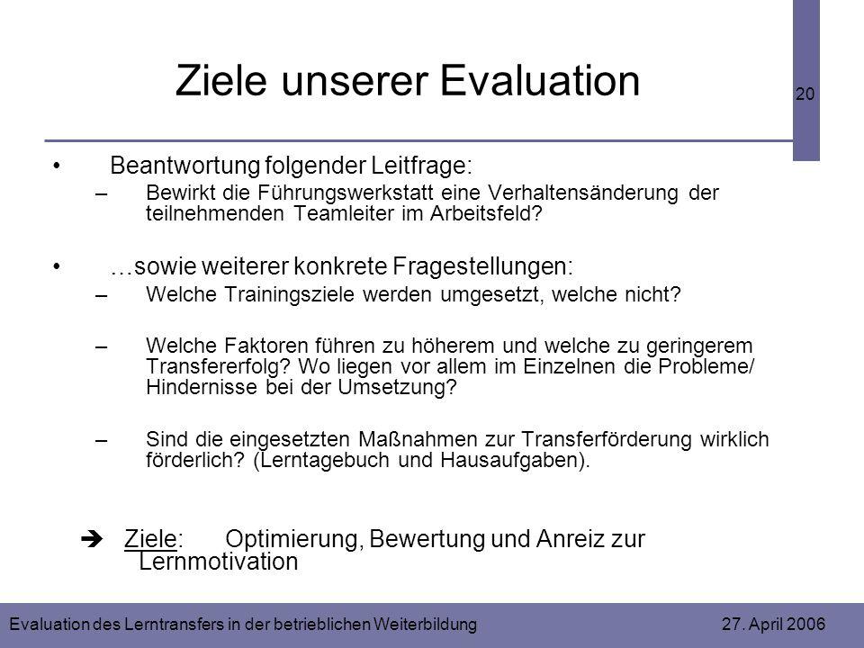 Evaluation des Lerntransfers in der betrieblichen Weiterbildung 27. April 2006 20 Ziele unserer Evaluation Beantwortung folgender Leitfrage: –Bewirkt