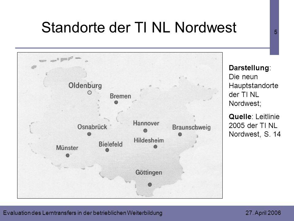 Evaluation des Lerntransfers in der betrieblichen Weiterbildung 27. April 2006 5 Standorte der TI NL Nordwest Darstellung: Die neun Hauptstandorte der