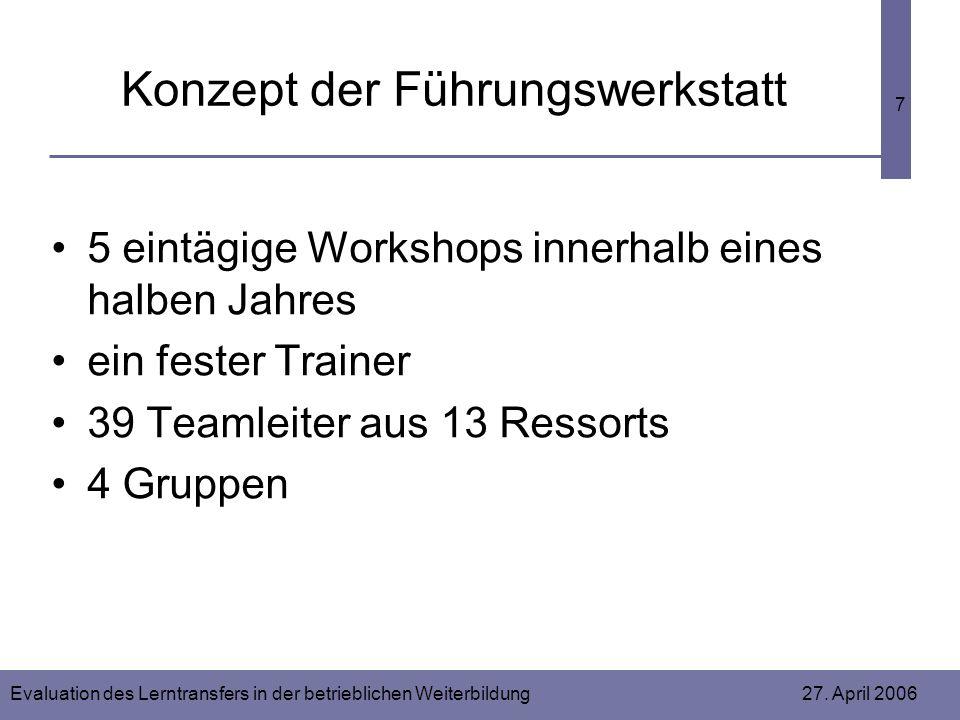 Evaluation des Lerntransfers in der betrieblichen Weiterbildung 27. April 2006 7 Konzept der Führungswerkstatt 5 eintägige Workshops innerhalb eines h