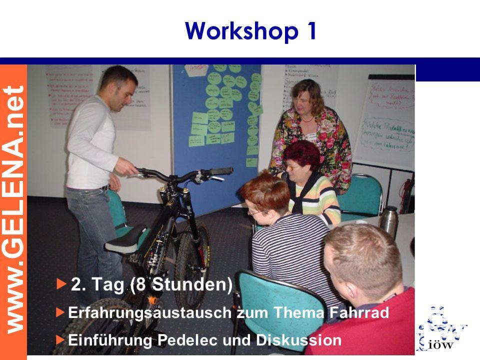 www.GELENA.net Erfahrungsaustausch zum Thema Fahrrad Einführung Pedelec und Diskussion Workshop 1 2. Tag (8 Stunden)