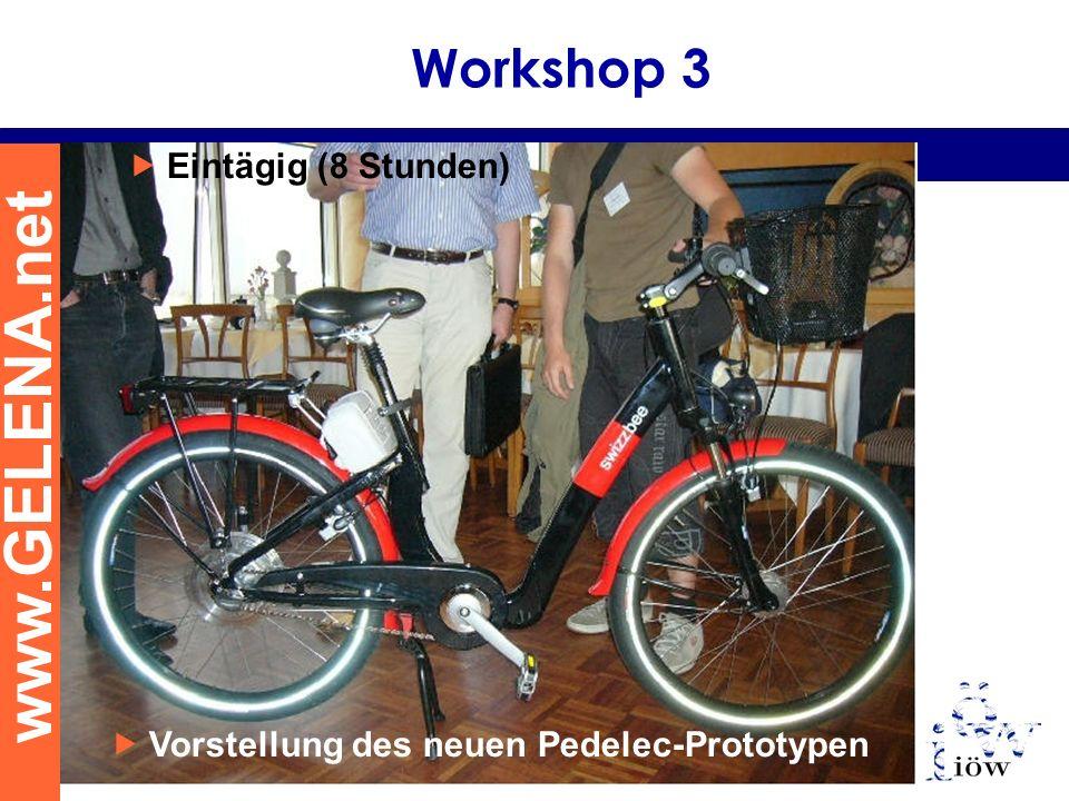 www.GELENA.net Workshop 3 Eintägig (8 Stunden) Vorstellung des neuen Pedelec-Prototypen