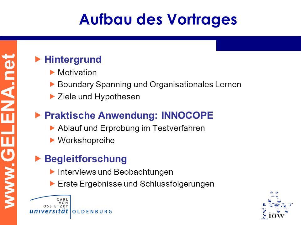 www.GELENA.net Aufbau des Vortrages Hintergrund Motivation Boundary Spanning und Organisationales Lernen Ziele und Hypothesen Praktische Anwendung: IN