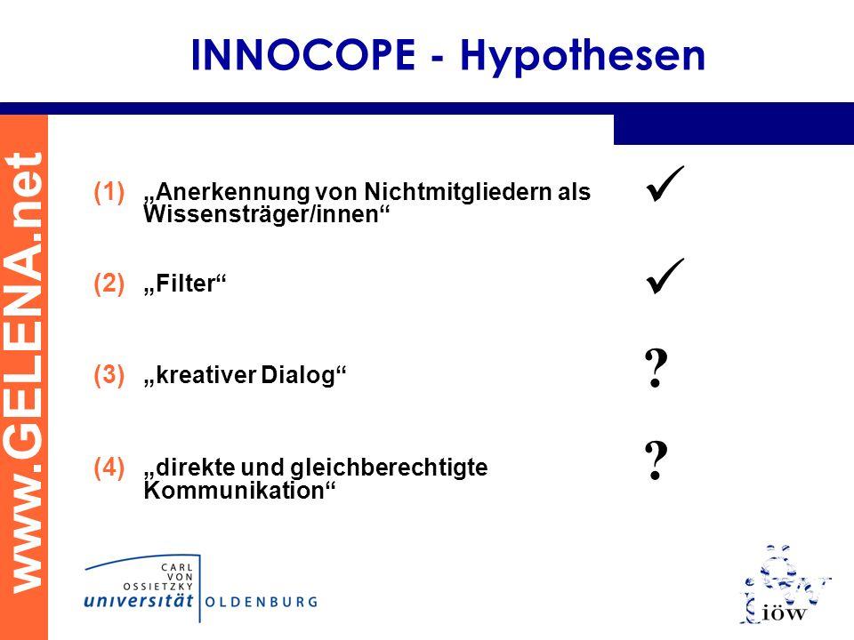 www.GELENA.net INNOCOPE - Hypothesen (1) Anerkennung von Nichtmitgliedern als Wissensträger/innen (2) Filter (3) kreativer Dialog (4) direkte und gleichberechtigte Kommunikation .