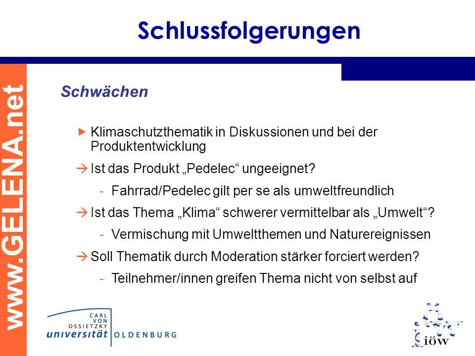 www.GELENA.net Schlussfolgerungen Schwächen Klimaschutzthematik in Diskussionen und bei der Produktentwicklung Ist das Produkt Pedelec ungeeignet? -Fa