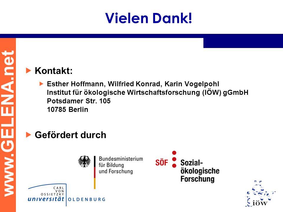 www.GELENA.net Vielen Dank! Kontakt: Esther Hoffmann, Wilfried Konrad, Karin Vogelpohl Institut für ökologische Wirtschaftsforschung (IÖW) gGmbH Potsd