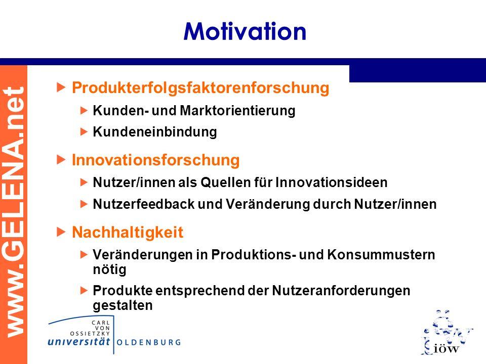 www.GELENA.net Motivation Produkterfolgsfaktorenforschung Kunden- und Marktorientierung Kundeneinbindung Innovationsforschung Nutzer/innen als Quellen