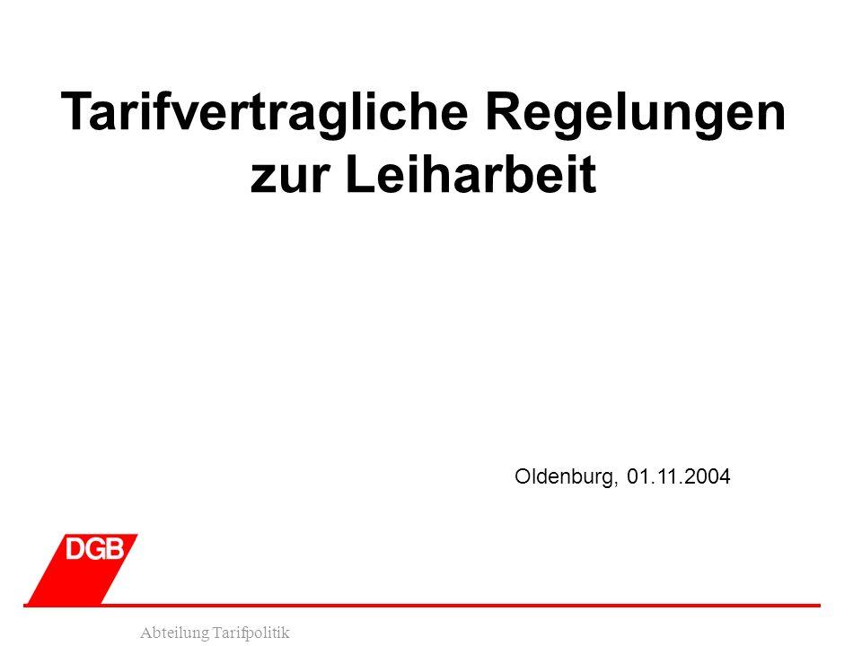 Abteilung Tarifpolitik Tarifvertragliche Regelungen zur Leiharbeit Oldenburg, 01.11.2004