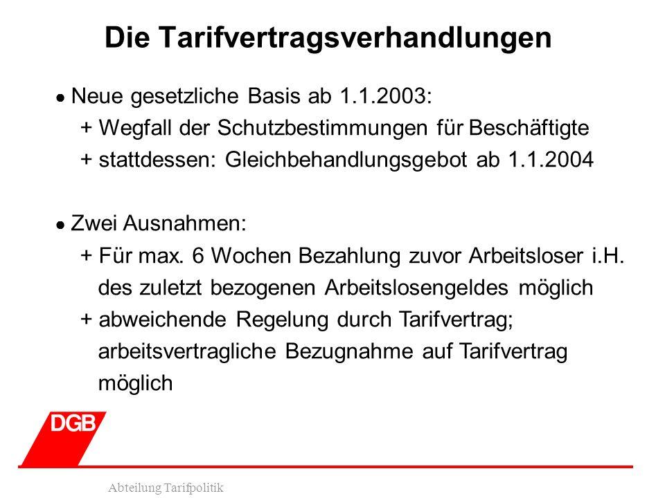Abteilung Tarifpolitik Die Tarifvertragsverhandlungen Neue gesetzliche Basis ab 1.1.2003: + Wegfall der Schutzbestimmungen für Beschäftigte + stattdessen: Gleichbehandlungsgebot ab 1.1.2004 Zwei Ausnahmen: + Für max.