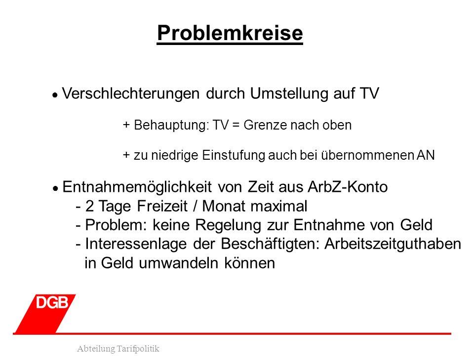 Abteilung Tarifpolitik Problemkreise Verschlechterungen durch Umstellung auf TV + Behauptung: TV = Grenze nach oben + zu niedrige Einstufung auch bei