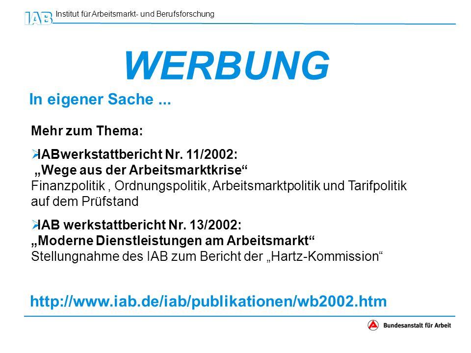 Institut für Arbeitsmarkt- und Berufsforschung WERBUNG In eigener Sache... Mehr zum Thema: IABwerkstattbericht Nr. 11/2002: Wege aus der Arbeitsmarktk