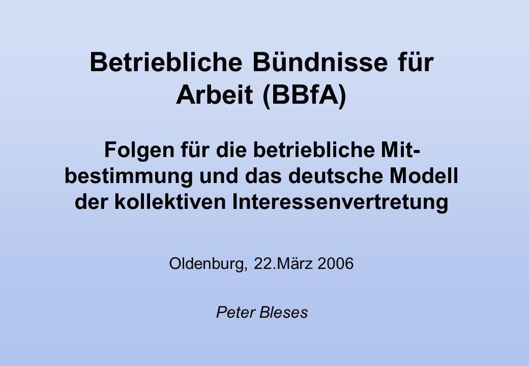 Betriebliche Bündnisse für Arbeit (BBfA) Folgen für die betriebliche Mit- bestimmung und das deutsche Modell der kollektiven Interessenvertretung Olde