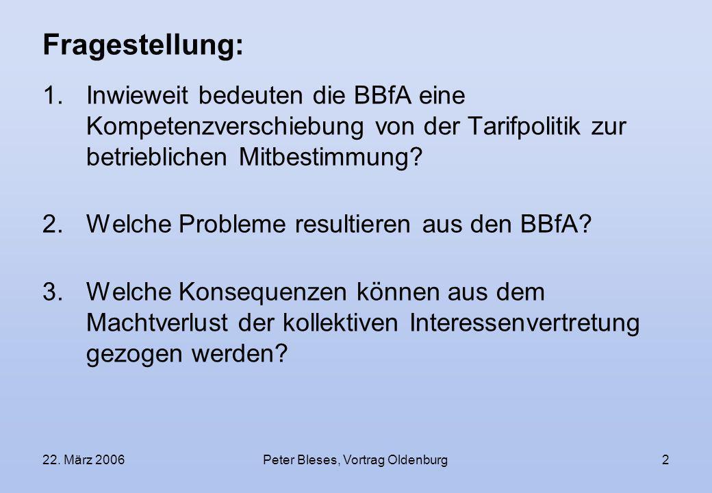 22. März 2006Peter Bleses, Vortrag Oldenburg2 Fragestellung: 1.Inwieweit bedeuten die BBfA eine Kompetenzverschiebung von der Tarifpolitik zur betrieb