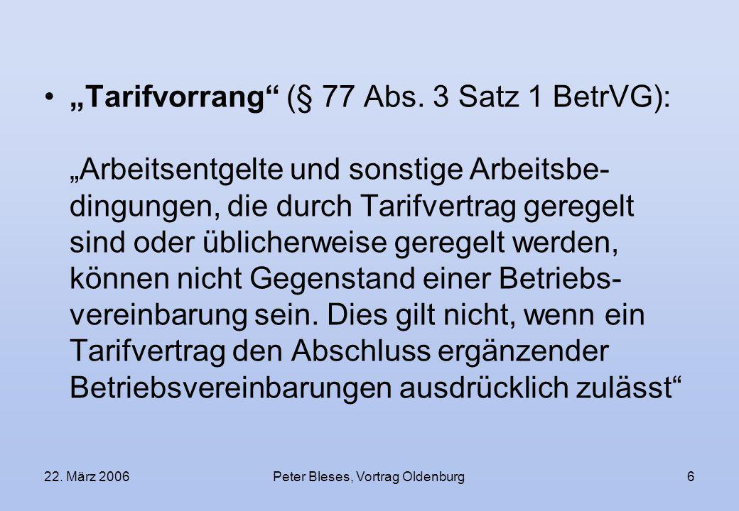 22. März 2006Peter Bleses, Vortrag Oldenburg6 Tarifvorrang (§ 77 Abs. 3 Satz 1 BetrVG): Arbeitsentgelte und sonstige Arbeitsbe- dingungen, die durch T