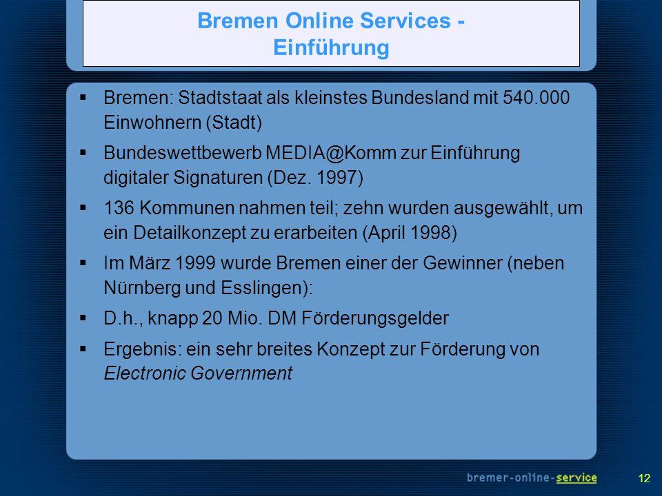 12 Bremen: Stadtstaat als kleinstes Bundesland mit 540.000 Einwohnern (Stadt) Bundeswettbewerb MEDIA@Komm zur Einführung digitaler Signaturen (Dez. 19