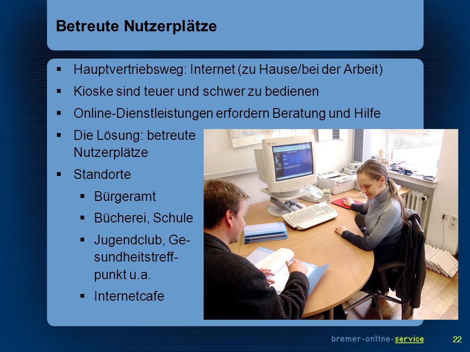 22 Betreute Nutzerplätze Hauptvertriebsweg: Internet (zu Hause/bei der Arbeit) Kioske sind teuer und schwer zu bedienen Online-Dienstleistungen erford