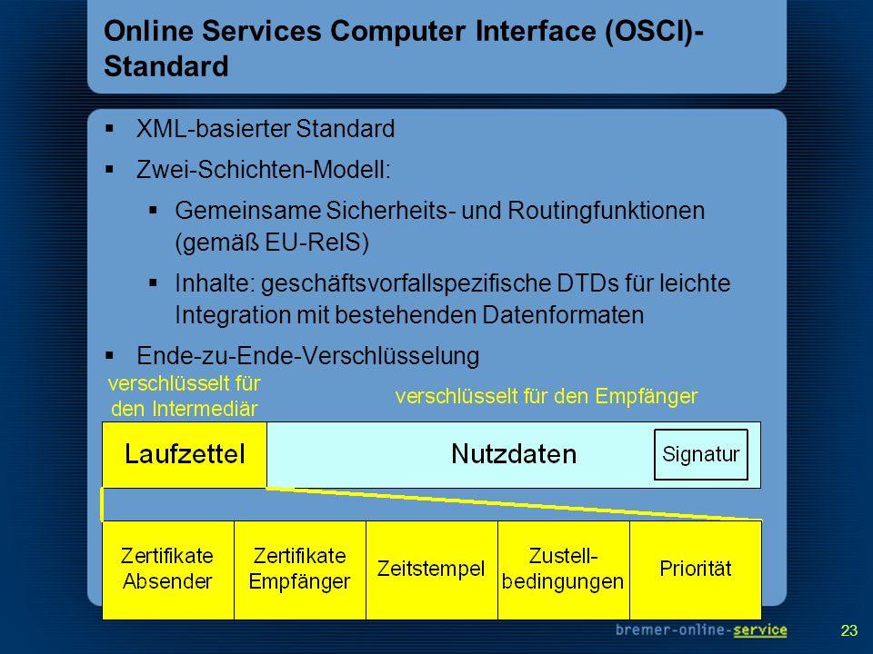 23 Online Services Computer Interface (OSCI)- Standard XML-basierter Standard Zwei-Schichten-Modell: Gemeinsame Sicherheits- und Routingfunktionen (ge
