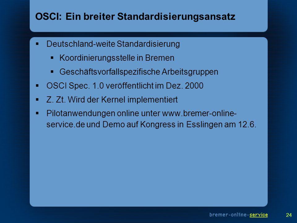 24 OSCI: Ein breiter Standardisierungsansatz Deutschland-weite Standardisierung Koordinierungsstelle in Bremen Geschäftsvorfallspezifische Arbeitsgrup