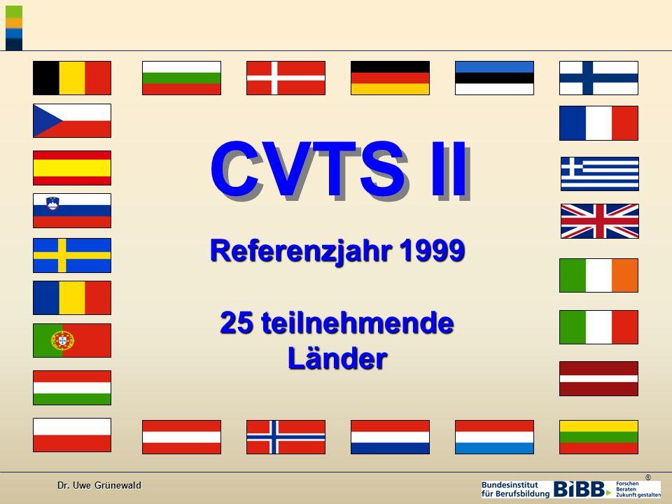 ® Dr. Uwe Grünewald CVTS II Referenzjahr 1999 25 teilnehmende Länder