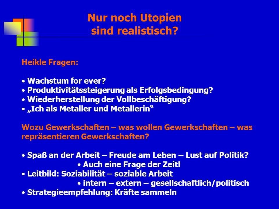 Nur noch Utopien sind realistisch.Heikle Fragen: Wachstum for ever.