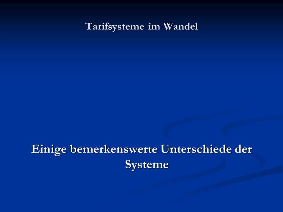 Tarifsysteme im Wandel Einige bemerkenswerte Unterschiede der Systeme