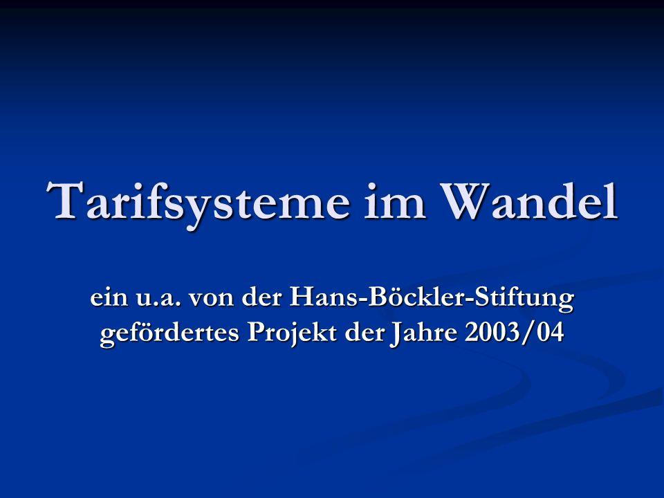 Tarifsysteme im Wandel ein u.a. von der Hans-Böckler-Stiftung gefördertes Projekt der Jahre 2003/04