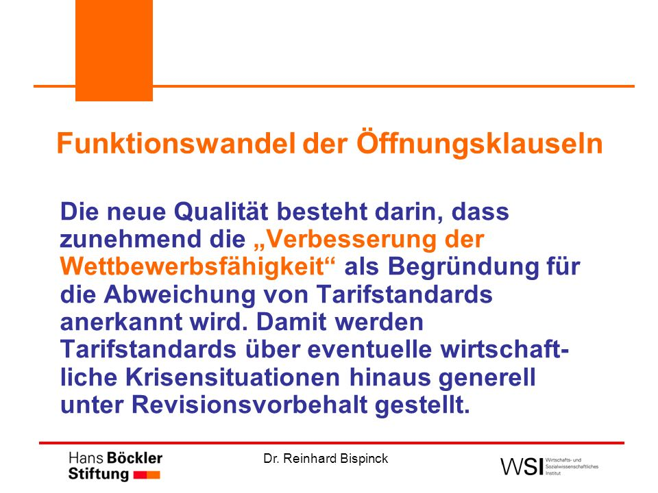 Dr. Reinhard Bispinck Funktionswandel der Öffnungsklauseln Die neue Qualität besteht darin, dass zunehmend die Verbesserung der Wettbewerbsfähigkeit a