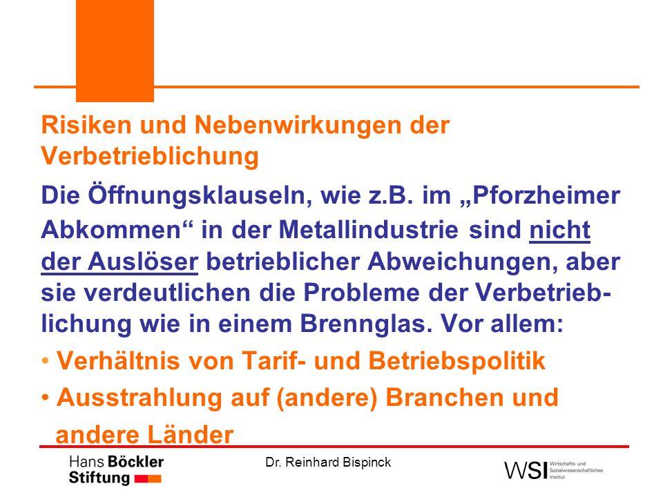 Dr. Reinhard Bispinck Die Öffnungsklauseln, wie z.B. im Pforzheimer Abkommen in der Metallindustrie sind nicht der Auslöser betrieblicher Abweichungen