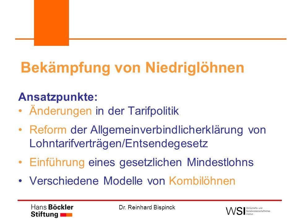 Dr. Reinhard Bispinck Bekämpfung von Niedriglöhnen Ansatzpunkte: Änderungen in der Tarifpolitik Reform der Allgemeinverbindlicherklärung von Lohntarif