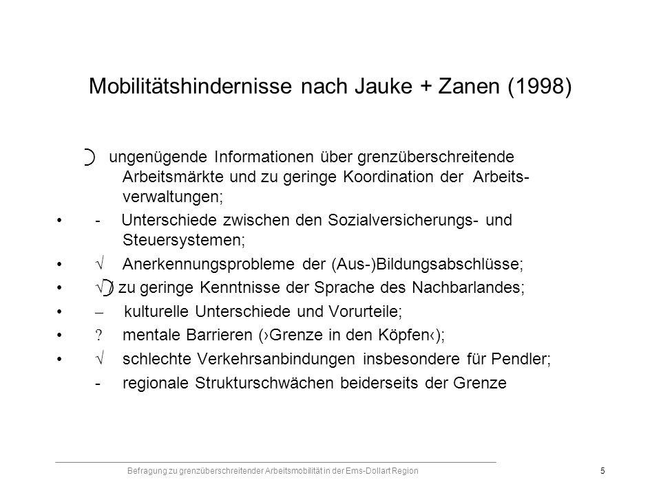 Befragung zu grenzüberschreitender Arbeitsmobilität in der Ems-Dollart Region5 Mobilitätshindernisse nach Jauke + Zanen (1998) ungenügende Informationen über grenzüberschreitende Arbeitsmärkte und zu geringe Koordination der Arbeits- verwaltungen; - Unterschiede zwischen den Sozialversicherungs- und Steuersystemen; Anerkennungsprobleme der (Aus-)Bildungsabschlüsse; / zu geringe Kenntnisse der Sprache des Nachbarlandes; – kulturelle Unterschiede und Vorurteile; .