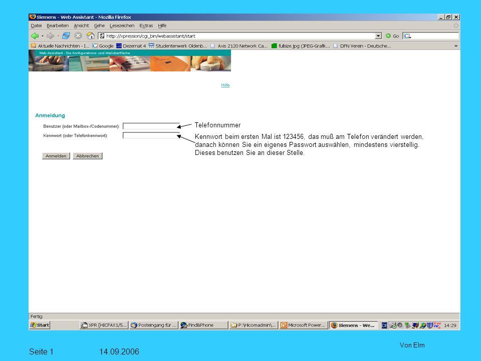Seite 12 14.09.2006 Von Elm Zur Zeit keine Faxvorlagen für alle Teilnehmer
