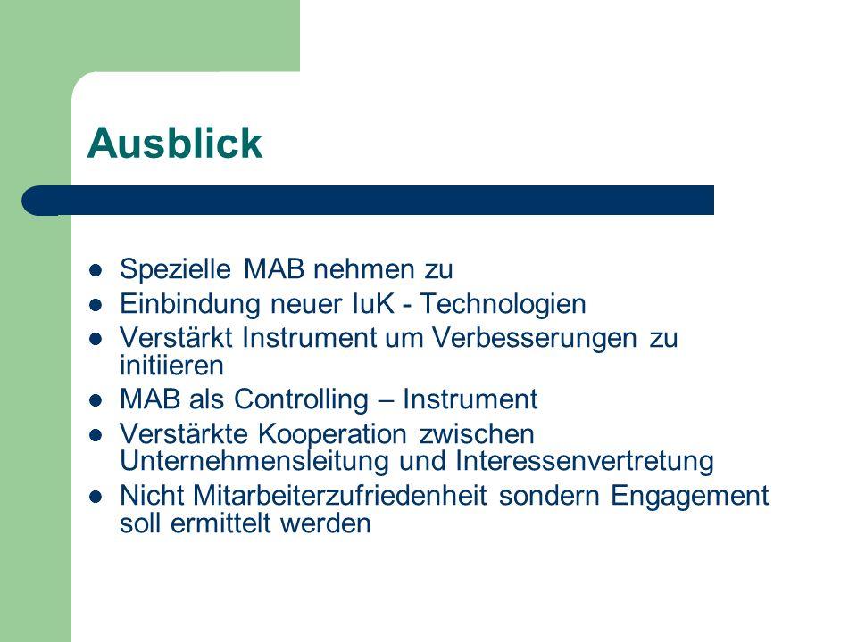 Ausblick Spezielle MAB nehmen zu Einbindung neuer IuK - Technologien Verstärkt Instrument um Verbesserungen zu initiieren MAB als Controlling – Instru