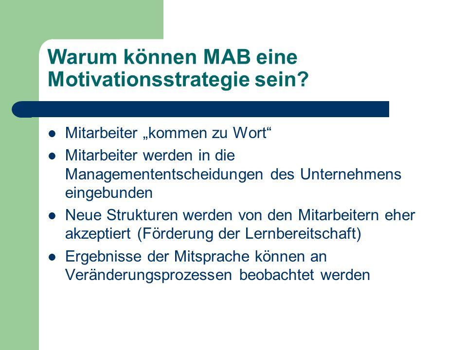 Warum können MAB eine Motivationsstrategie sein? Mitarbeiter kommen zu Wort Mitarbeiter werden in die Managemententscheidungen des Unternehmens eingeb