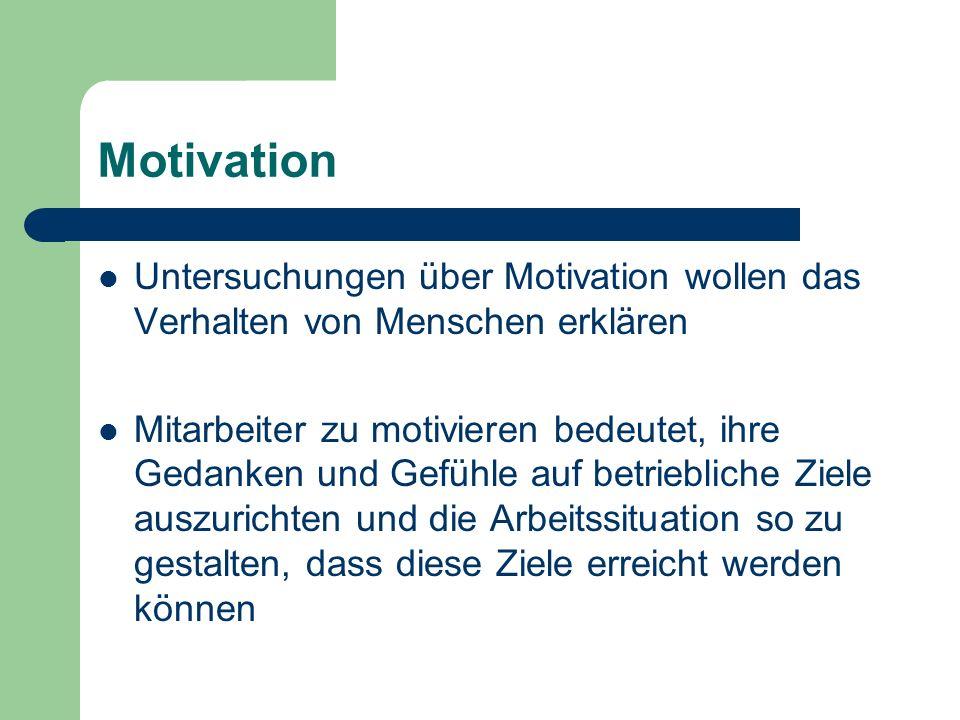 Motivation Untersuchungen über Motivation wollen das Verhalten von Menschen erklären Mitarbeiter zu motivieren bedeutet, ihre Gedanken und Gefühle auf