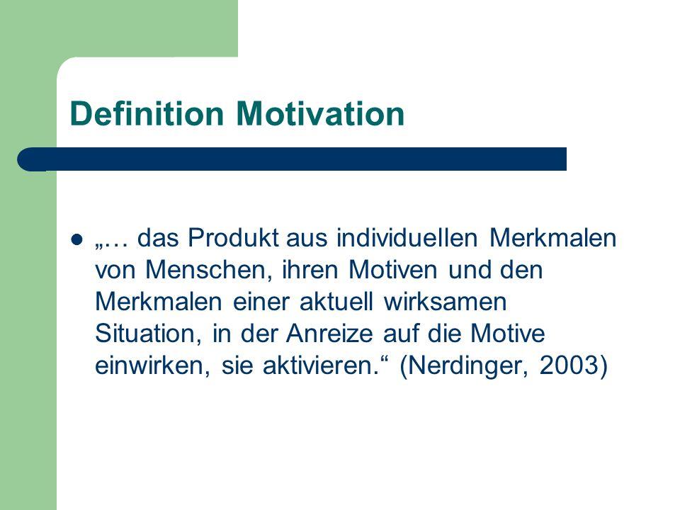 Definition Motivation … das Produkt aus individuellen Merkmalen von Menschen, ihren Motiven und den Merkmalen einer aktuell wirksamen Situation, in de