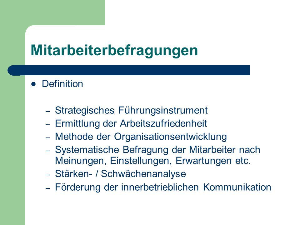 Mitarbeiterbefragungen Definition – Strategisches Führungsinstrument – Ermittlung der Arbeitszufriedenheit – Methode der Organisationsentwicklung – Sy