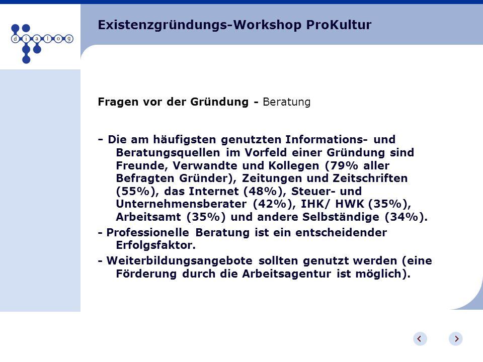 Existenzgründungs-Workshop ProKultur Fragen vor der Gründung - Beratung - Die am häufigsten genutzten Informations- und Beratungsquellen im Vorfeld ei