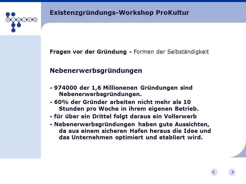 Existenzgründungs-Workshop ProKultur Fragen vor der Gründung - Formen der Selbständigkeit Nebenerwerbsgründungen - 974000 der 1,6 Millionenen Gründung