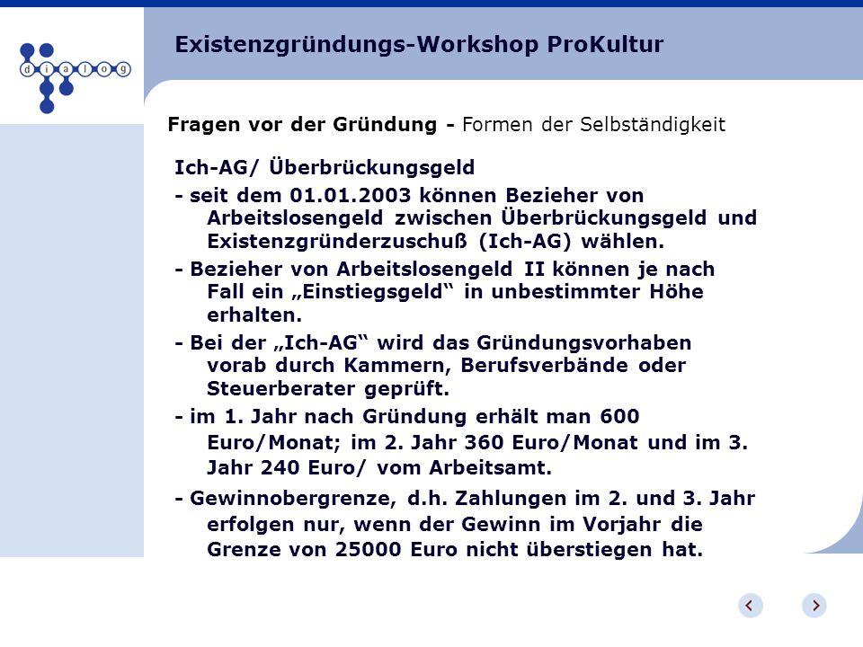 Existenzgründungs-Workshop ProKultur Fragen vor der Gründung - Formen der Selbständigkeit Ich-AG/ Überbrückungsgeld - seit dem 01.01.2003 können Bezie