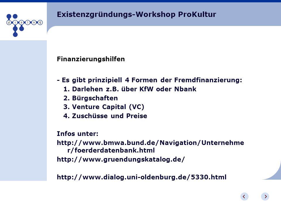Existenzgründungs-Workshop ProKultur Finanzierungshilfen - Es gibt prinzipiell 4 Formen der Fremdfinanzierung: 1. Darlehen z.B. über KfW oder Nbank 2.