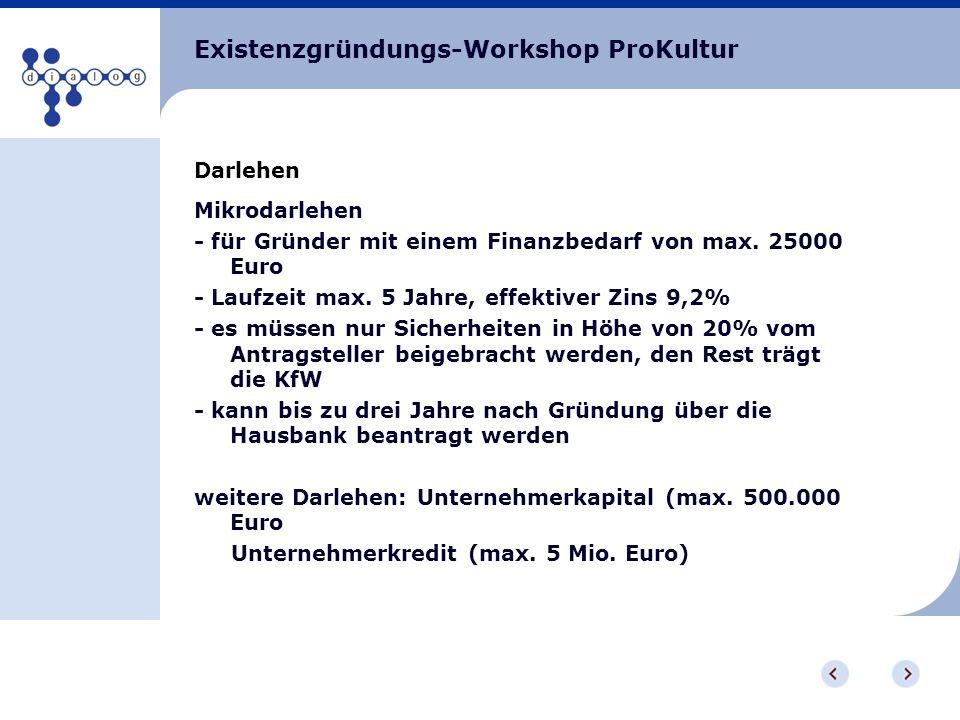 Existenzgründungs-Workshop ProKultur Darlehen Mikrodarlehen - für Gründer mit einem Finanzbedarf von max. 25000 Euro - Laufzeit max. 5 Jahre, effektiv