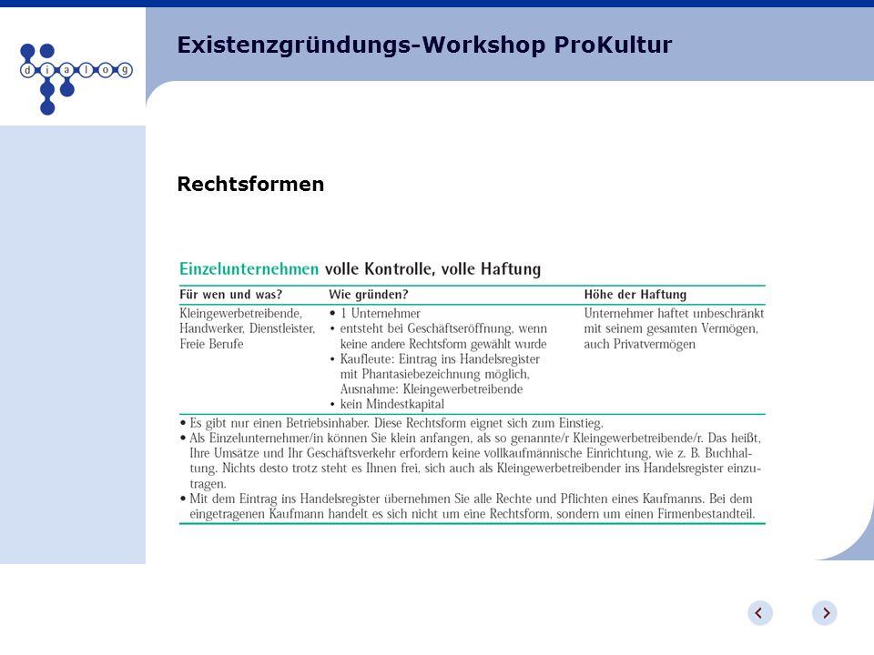 Existenzgründungs-Workshop ProKultur Rechtsformen