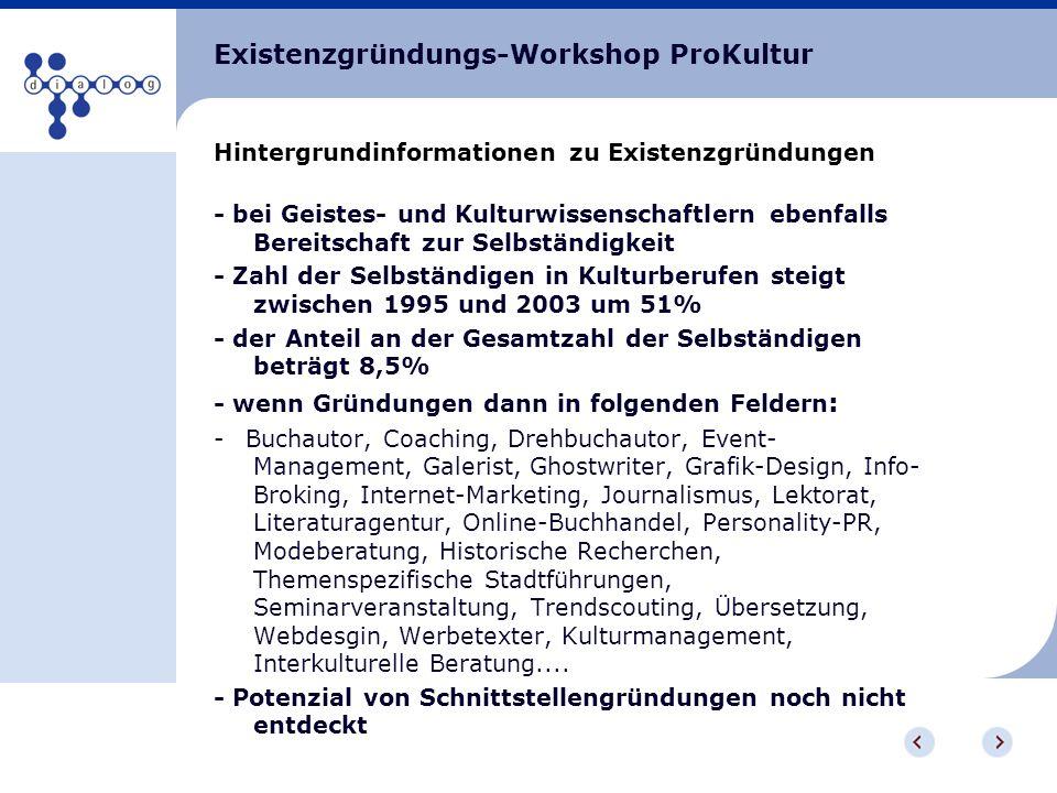 Existenzgründungs-Workshop ProKultur Hintergrundinformationen zu Existenzgründungen - bei Geistes- und Kulturwissenschaftlern ebenfalls Bereitschaft z
