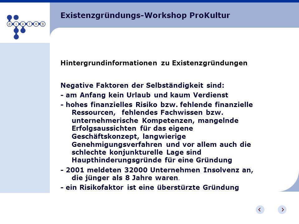 Existenzgründungs-Workshop ProKultur Hintergrundinformationen zu Existenzgründungen Negative Faktoren der Selbständigkeit sind: - am Anfang kein Urlau