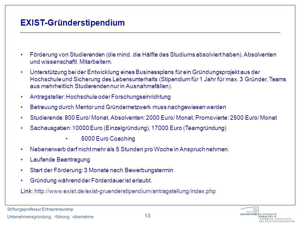 Stiftungsprofessur Entrepreneurship Unternehmensgründung, -führung, -übernahme 13 EXIST-Gründerstipendium Förderung von Studierenden (die mind. die Hä