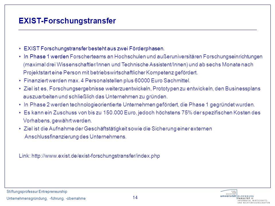 Stiftungsprofessur Entrepreneurship Unternehmensgründung, -führung, -übernahme 14 EXIST-Forschungstransfer EXIST Forschungstransfer besteht aus zwei F