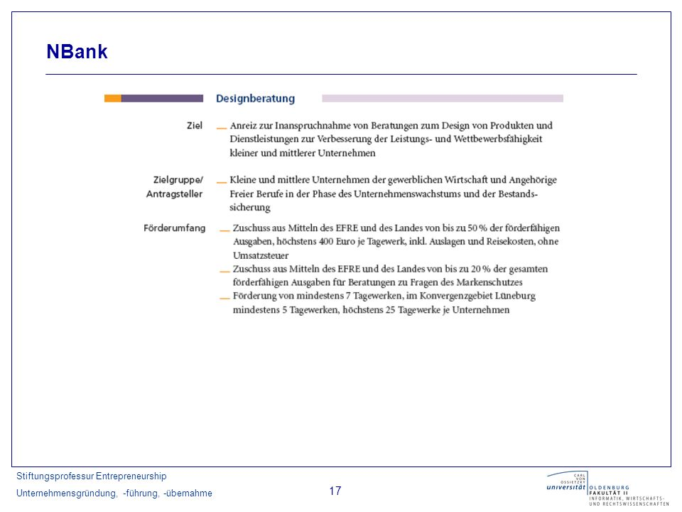 Stiftungsprofessur Entrepreneurship Unternehmensgründung, -führung, -übernahme 17 NBank