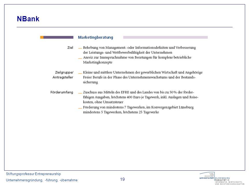 Stiftungsprofessur Entrepreneurship Unternehmensgründung, -führung, -übernahme 19 NBank